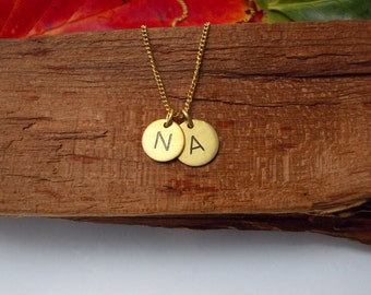 Gold Initial Necklace | Two Letter Charms Necklace | Hand Stamped Personalized | Custom Necklace DOT Duo, Circle pendant, FREE SHIPPING