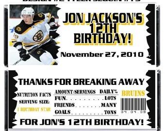 Printable Hockey Birthday Candy Bar Wrappers 1.55 oz. Hershey's Chocolate NHL Boston Bruins