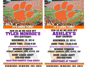 Printable  Clemson Tigers College Football Birthday Party Invitation NCAA Ticket Invitation Baby Shower Invitations