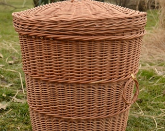 Storage Basket with Lid,Wicker Laundry Basket, Handmade Willow Laundry Basket with Lid, Round Wicker Hamper, Wicker Laundry Hamper