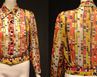 vintage 1970's SHEER BLOUSE art deco cubism psychedelic button up shirt