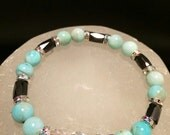 Amazonite, Hematite Gemstone & Swarovski Crystal Healing Bracelet - il_170x135.710147776_87jw
