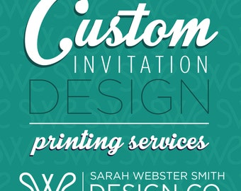 Printing Services - Custom Invitations 5x7 (single or double sided) Includes White Envelopes - 110lb paper