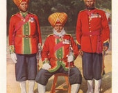 Sikh men in uniform, original 1930 print - India, Punjab, soldiers - 85 years old antique lithograph illustration (A094)