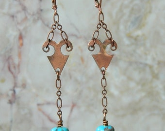 Turquoise & antique copper earrings