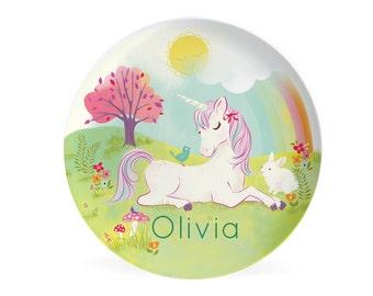 Kids Unicorn PLATE - Personalized Unicorn Dish for Kids