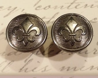 "Plugs Gauges - Gunmetal Fleur-de-lis Plugs - 0ga (8mm), 00ga (10mm), 7/16"" (11mm), 1/2"" (12mm), 9/16"" (14mm)"