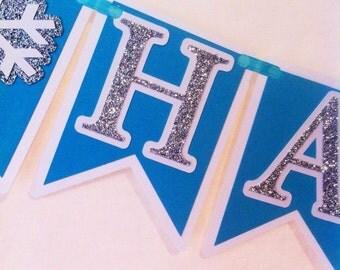 Frozen Inspired Birthday Banner - Winter - Snowflake - Elsa - decorations