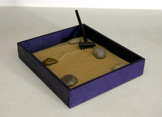 Sand zen garden desk decor purple office decor by for Table zen garden
