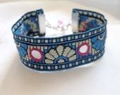 Festival Bracelet - Hippy Boho Bracelet - Sari Ribbon Mirror Work Bracelet - Folk Bracelet - Indian Sari Ribbon Bracelet - Cuff Bracelet -
