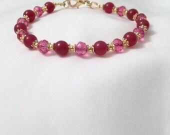 Jade Crystal Bracelet - Rose Crystal Jade Bracelet - Healing Bracelet - Positivity Bracelet -