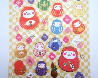 Japanese daruma doll chiyogami paper stickers - Japan yuzen paper stickers - Mount Fuji stickers - plum blossom and gourd stickers