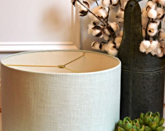 Seafoam Large Drum Shade in 100% Linen