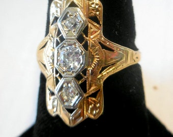 Heirloom Ring Victorian Lace Filigree Ring,  14K Gold, Platinum & 3 Large Rose Cut Diamond Ring- Very Special- c1800's