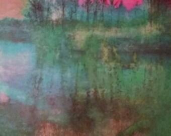 Colorful Nature Wall Art, Sheldon Lake Red Sky, Original Photo Transfer, Size 8.5 square