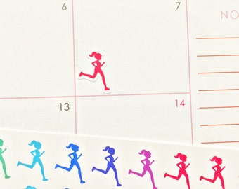 39 Running Girl Silhouette! Free CUSTOMIZATION Perfect for your Erin Condren Life Planner, Filofax, Plum Paper, other planners scrapbooking!