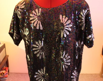 Fancy and festive sequined Joseph Le Bon blouse straight from the 80s. Pure Silk lining! With original tags!
