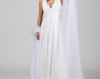 50% SALE | A-Line Minimalistic Deep V Neck Chiffon Wedding Dress Drapes that Emphasize the Shape of your body |Ivory Wedding Dress