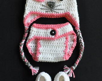 Valentine's Day Kitty Hat/ Diaper Cover/ Bootie Set