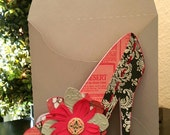 Layered Paper Red, Black Handmade High Heel Shoe Card with Button and Envelope