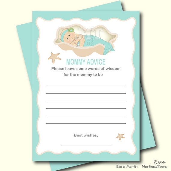 mermaid baby shower advice card advice for mom to be baby shower game