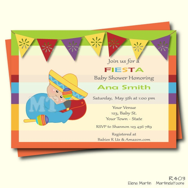 mexican baby shower invitation mexican fiesta by martinelatoons