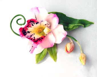 orchid hair accessory, artificial flowers for hair, flower hair clip
