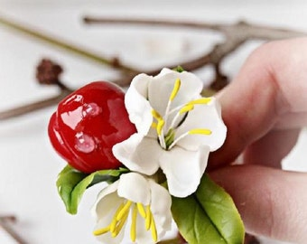 cherry ring, berry jewelry, flower ring, red berry, artificial cherry