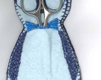 Little Blue Penguin Hussif, Sewing kit, pattern, handmade embroidery.