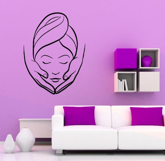 Spa beauty salon wall vinyl decal massage sticker girl woman for Stickers salon design