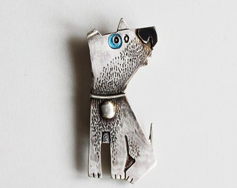 Dog Brooch Pin, Handmade Sterling Silver, JIMMY, Patinated, Hand Painted, Hand Engraved, Wearable Art, Contemporary Jewelry, Silver Dog