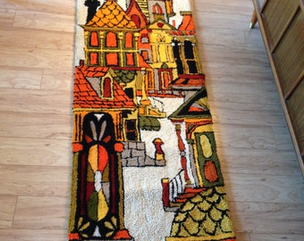 Hooked Rug Victorian Houses Mid Century Modern Wall Hanging