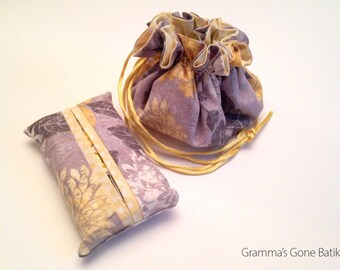 Jewelry Pouch and Tissue Holder - Gray and Yellow Floral