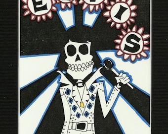Elvis Presley - Dia De Los Muertos (Day of the Dead) Rock Star - Illustration Art