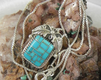 Inlaid Turquoise Pendant Necklace
