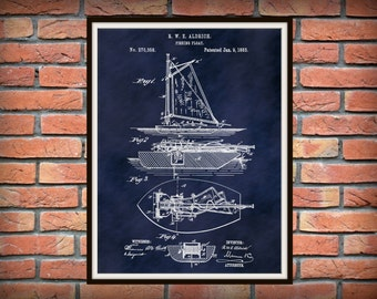Patent 1883 Fishing Boat - Fishing Float - Sailboat - Down Rigger - Dinghy - Art Print - Poster - Marina Wall Art - Sailor Art