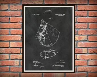 Patent 1920 Horse Halter - Art Print Poster - Wall Art -  Western Art - Equine Art - Equus - Cowboy Wall Art