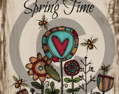 Primitive Digital Art-  - Jar Spring Time - Flowers-Logo- Pantry Label - Crock- Transfer -Instant Printable Label JPEG File Instant Download