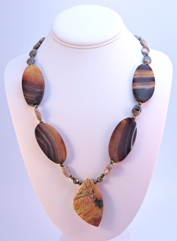 Bold statement necklace of jasper and Picasso marble beads.