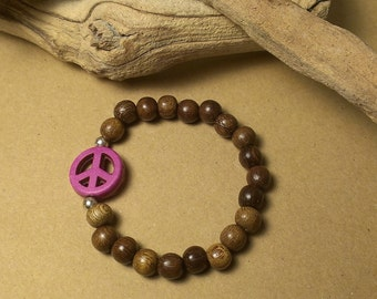 Girl's Wood Bracelet with Pink Magnesite Peace Sign