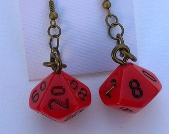 Red d10 and Percentile Dice Earrings