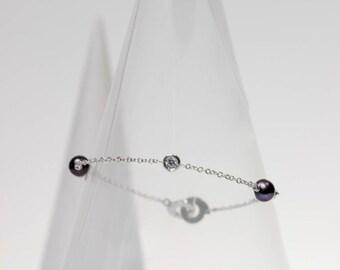 "Simple chain bracelet / silver oxide of zirconium beads & gemstones ""Ennead"""