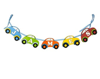 Personalised Multicoloured Car Wooden Name Garland (Price per Letter)