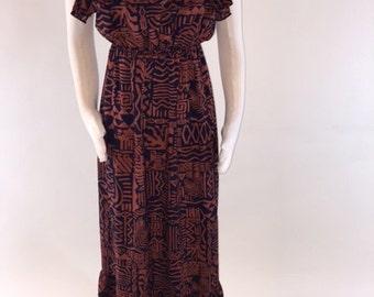 Vintage Burnt Orange and Black Halter Dress, size Small