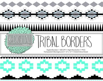 Tribal Borders - Photo Border, Digital Photo Frame, Border Clipart, Tribal Clipart, Tribal Border, Photoshop Border, Tribal Print Clipart