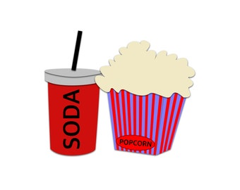Popcorn Clipart - Soda Clipart, Movie Snacks Clipart, Cinema Clipart, Food Clipart, Clipart Snacks, Movie Popcorn Vector, Pop Vector, Movies