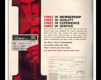 """Vintage Print Ad 1960's : Diners' Club """"The Number One Credit Card"""" Wall Art Decor 8.5"""" x 11"""" Advertisement"""