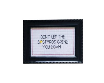 Don't Let the B*stards Grind You Down framed cross stitch