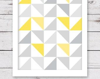 Geometric Print, PRINTABLE Art, Geometric Art, Yellow and Gray Art, INSTANT DOWNLOAD Art, Yellow and Gray Wall Art, Geometric Wall Decor