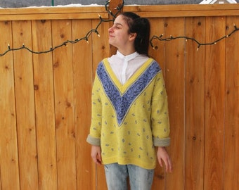 SALE 80s 90s Vintage Hipster Oversized Yellow Purple Grandpa Esprit Sweater